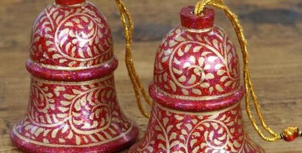 Red & Gold Glitter Swirl Hanging Bell