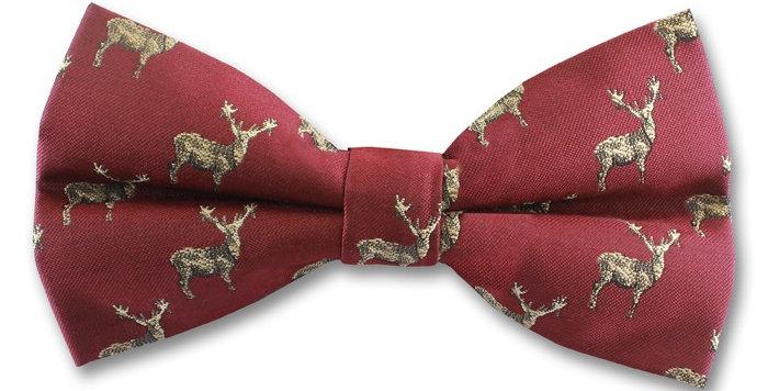 Burgundy Stag Bow Tie