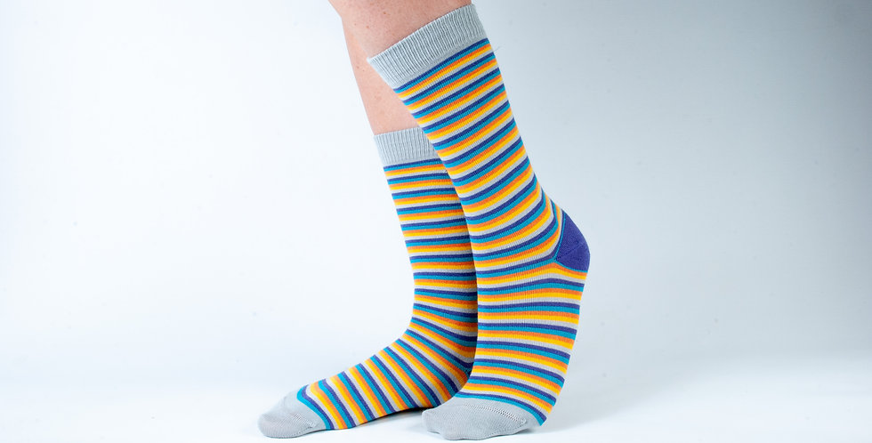 Size 12-3 Bright Stripes Bamboo Socks