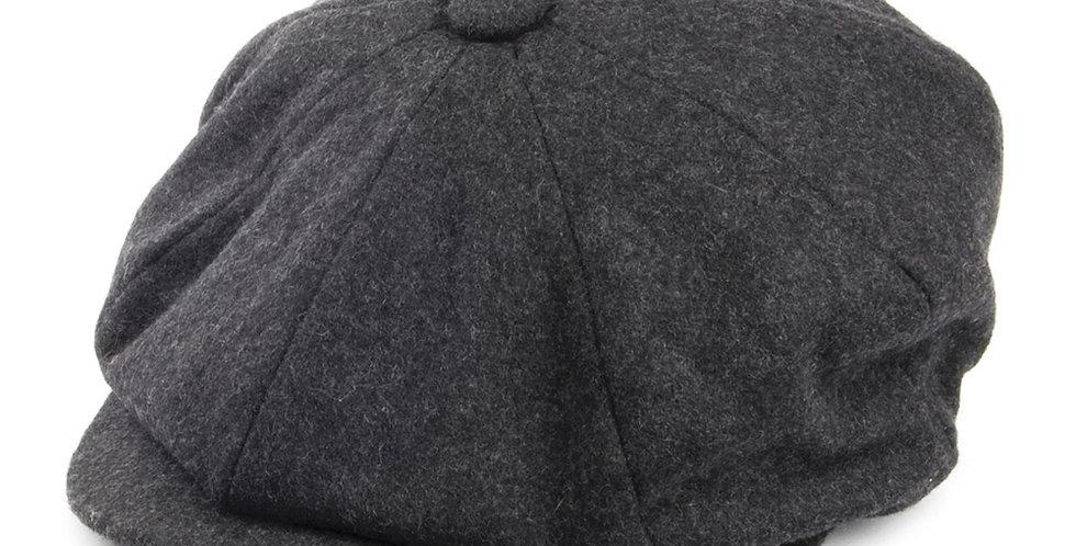 Grey Melton Wool 8 Piece Cap