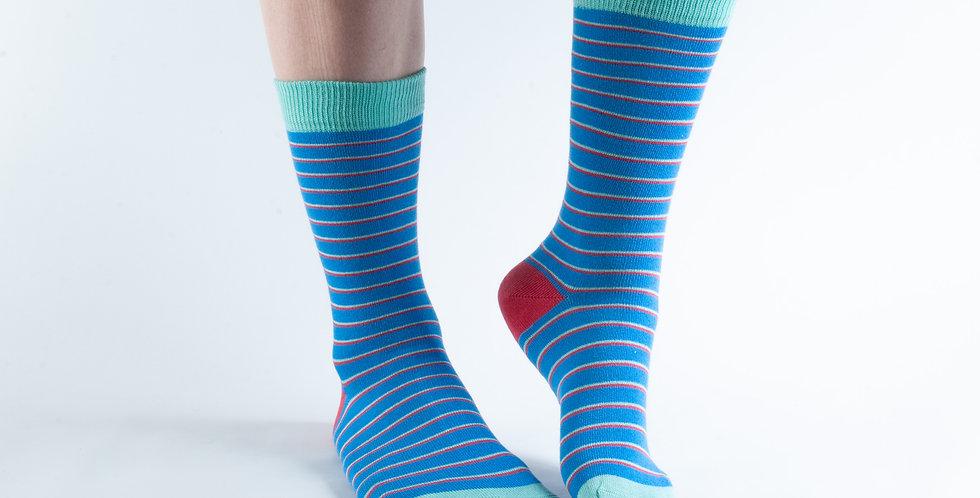 Size 3-7 Blue Thin Stripe Bamboo Socks