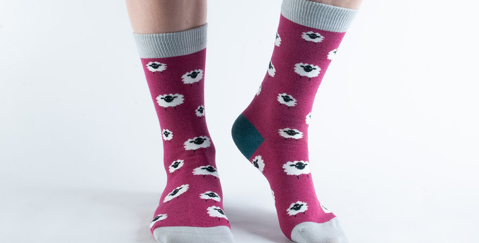 Size 3-7 Raspberry Sheep Bamboo Socks