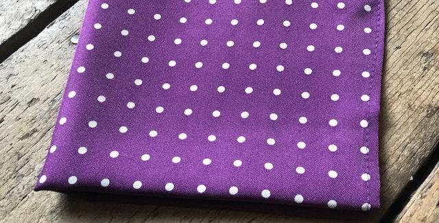 Purple & White Spot Silk Pocket Square