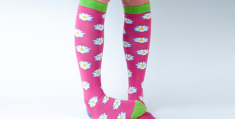 3-7 Pink Flowers Knee Bamboo Socks