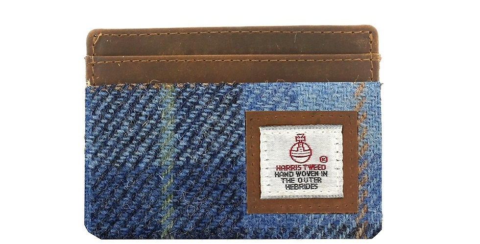 Blue Harris Tweed Card Holder