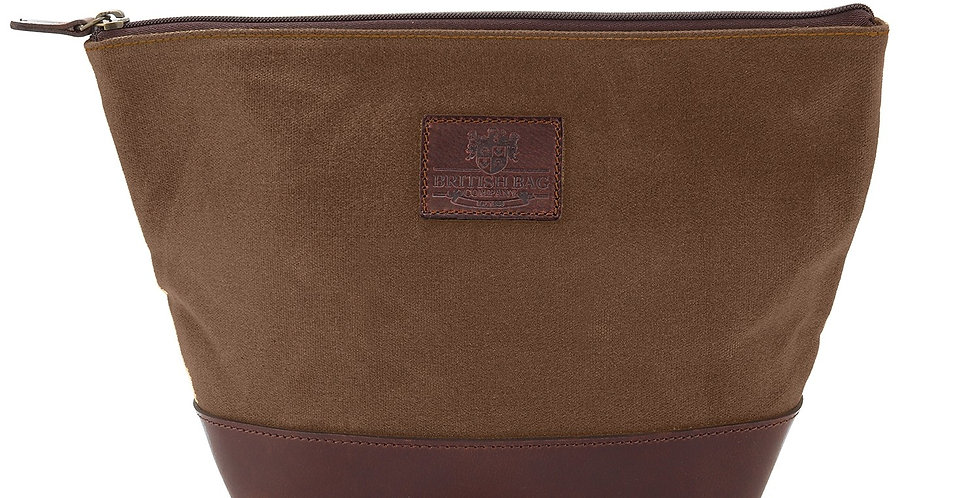 Brown Waxed Canvas Triangular Wash bag