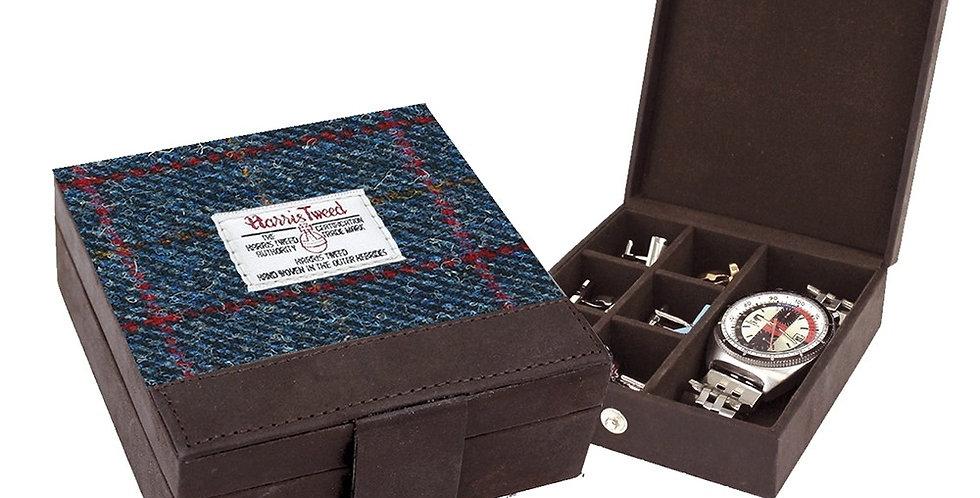 Navy Harris Tweed Trinket Box
