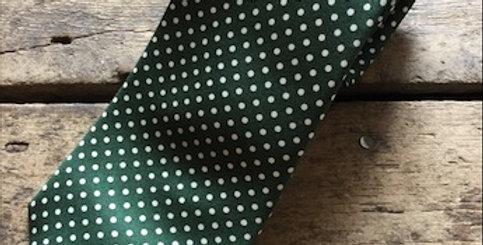 Green & White Small Spot Silk Tie