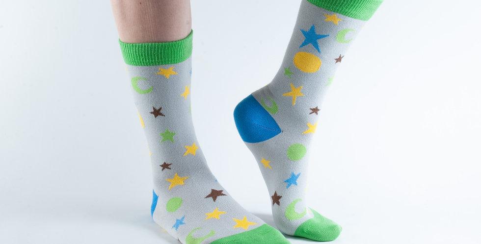 Size 3-7 Grey Night Sky Bamboo Socks