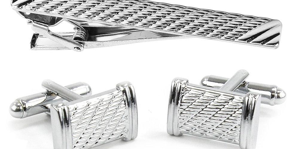 Rhodium Cufflink & Tie Bar Set