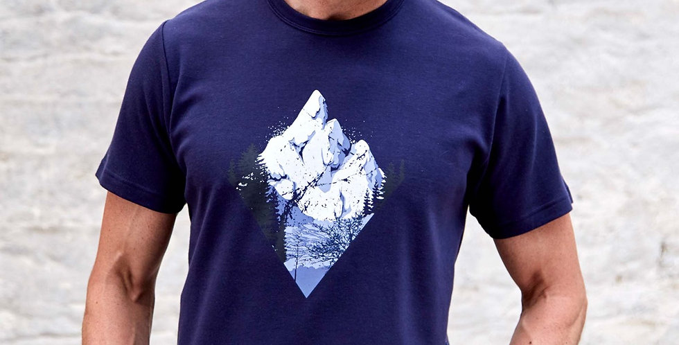 Navy Thick Mountain Design T-Shirt