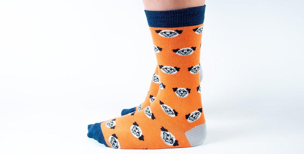Size 3-7 Orange Pug Bamboo Socks