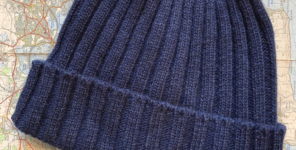 Navy Ribbed Beanie With Cuff