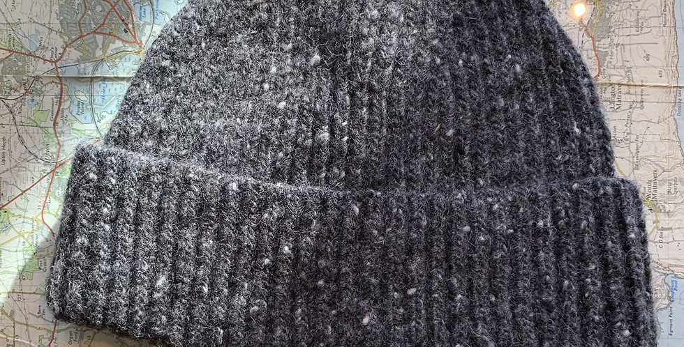 Dark Grey Wool Fisherman Beanie