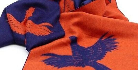 Reversible Navy & Orange Pheasant Scarf