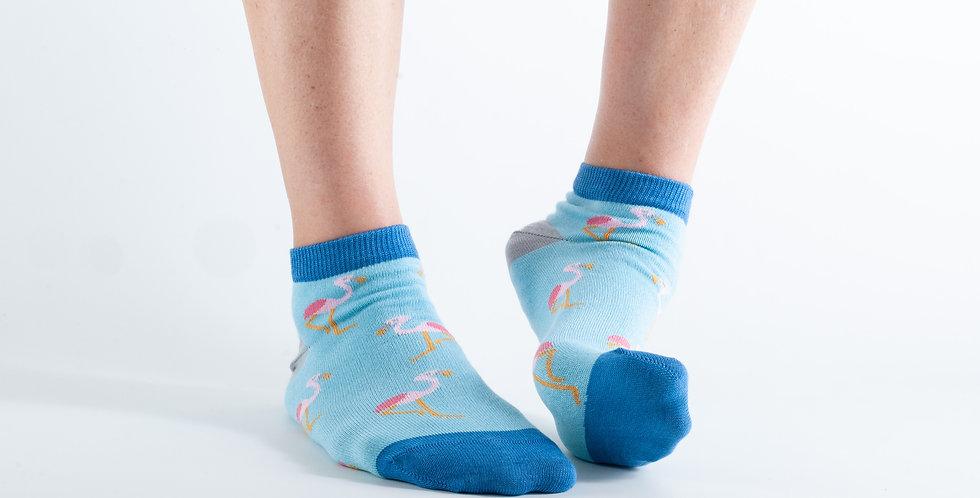 Size 3-7 Ankle Blue Flamingo Bamboo Socks