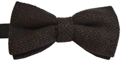 Brown Herringbone Wool Mix Bow Tie
