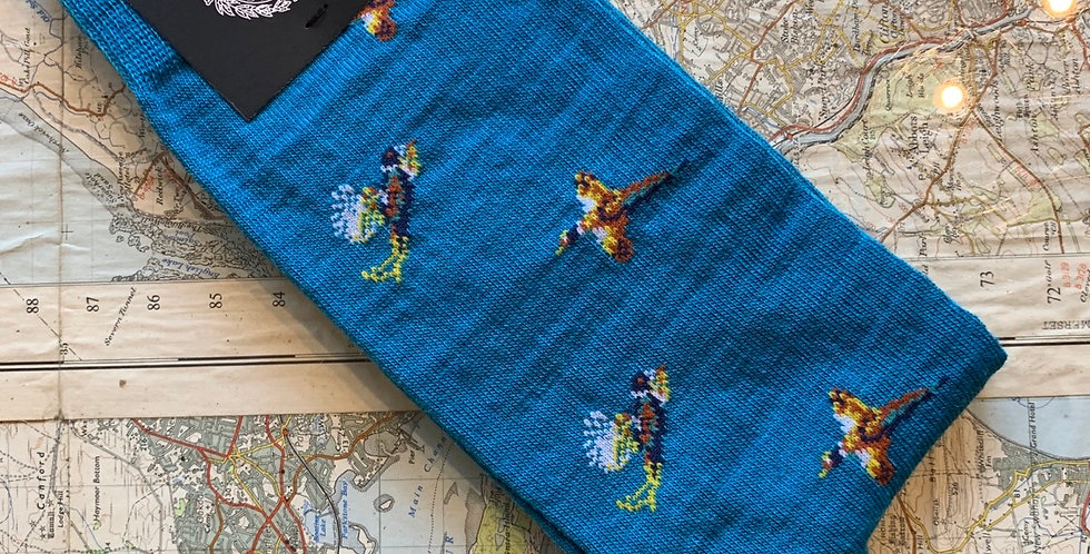 6-11 Bright Blue Pheasant Socks