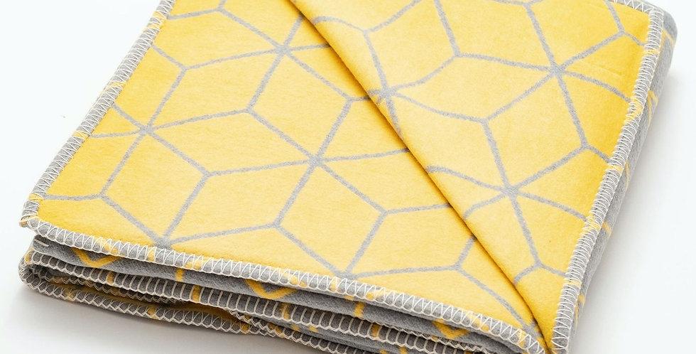 Grey & Yellow Geometric Recycled Cotton Blanket