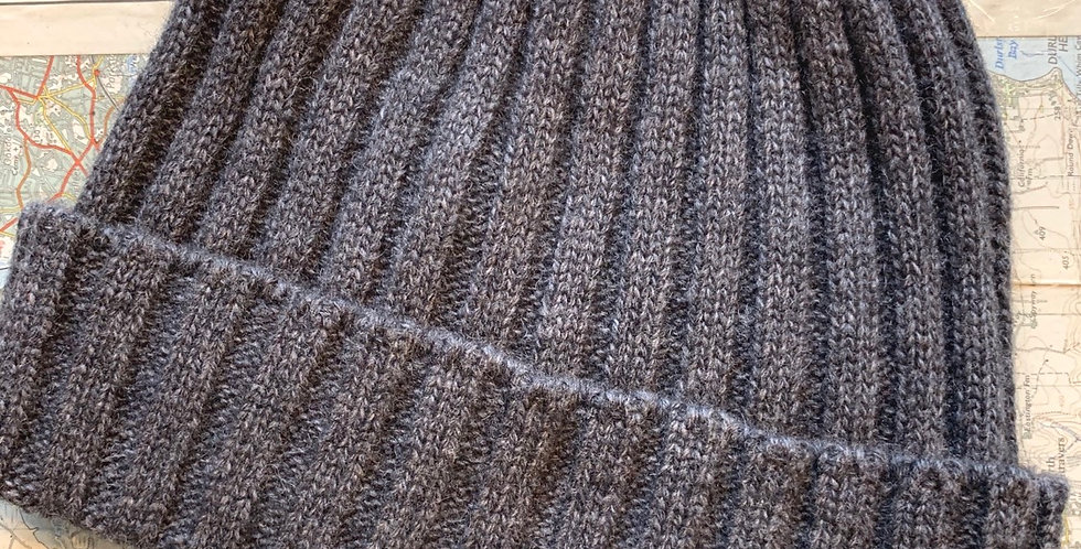 Grey Ribbed Beanie With Cuff