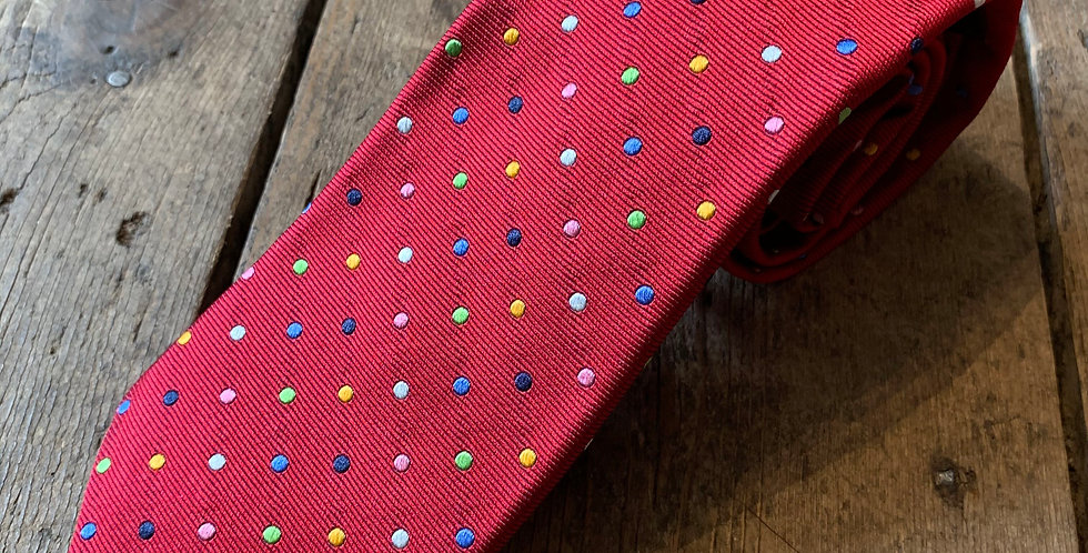 Red & Multi Spot Embroidered Silk Tie