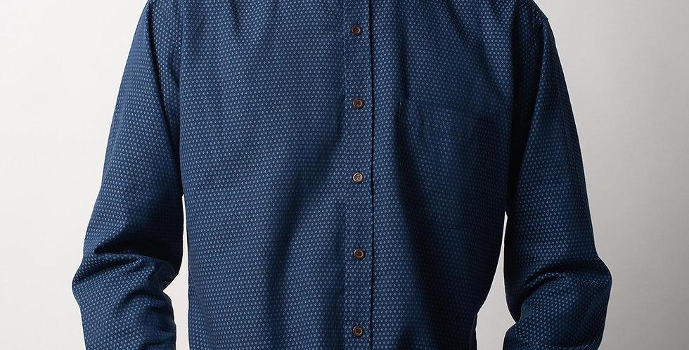 Naro Collar Navy Patterned Shirt