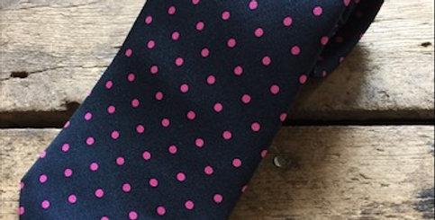 Navy & Pink Spot Silk Tie