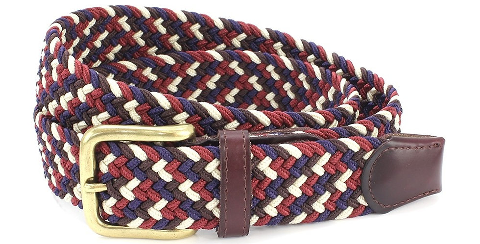 Navy, Burgundy, Brown & Cream Speckled Woven Belt