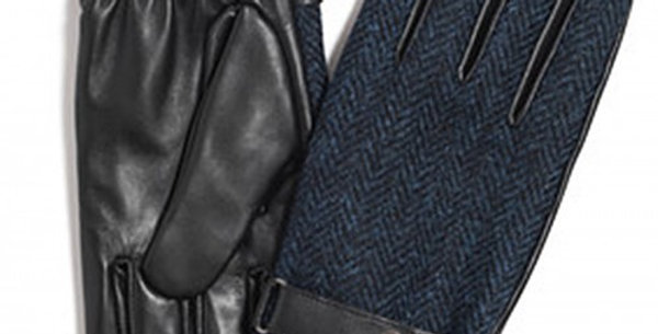 Navy Harris Tweed & Leather Gloves