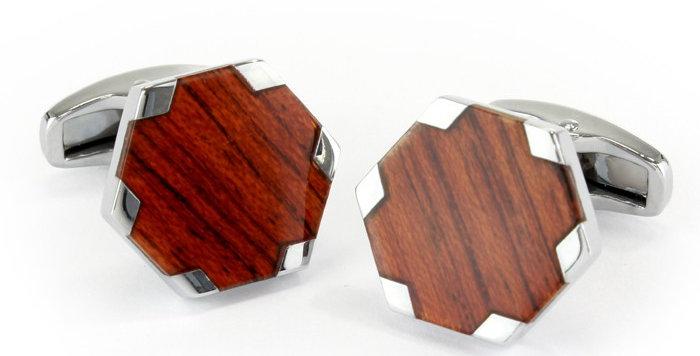 Wood Hexagon Cufflinks