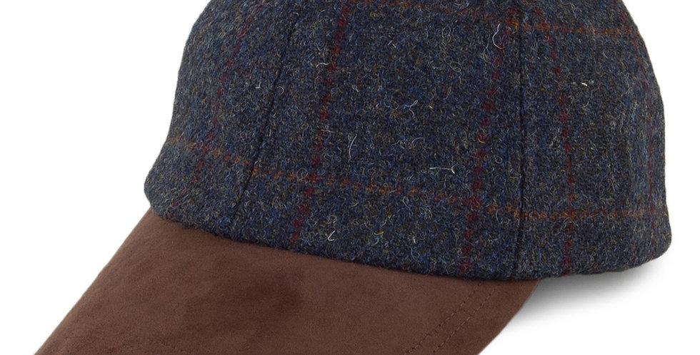 Blue Check Harris Tweed Baseball Cap