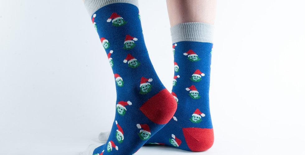 Size 3-7 Xmas Navy Sprout Bamboo Socks