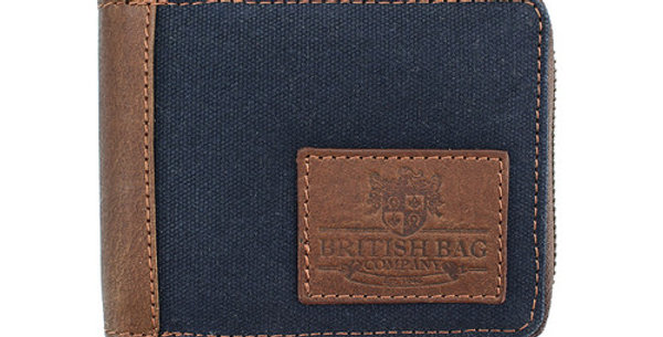 Navy Waxed Canvas Zip up Wallet