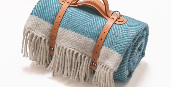 Turquoise Herringbone Wool Picnic Blanket