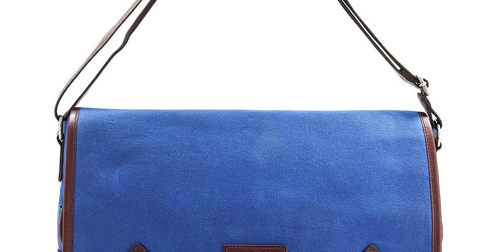Blue Waxed Canvas Messenger Bag
