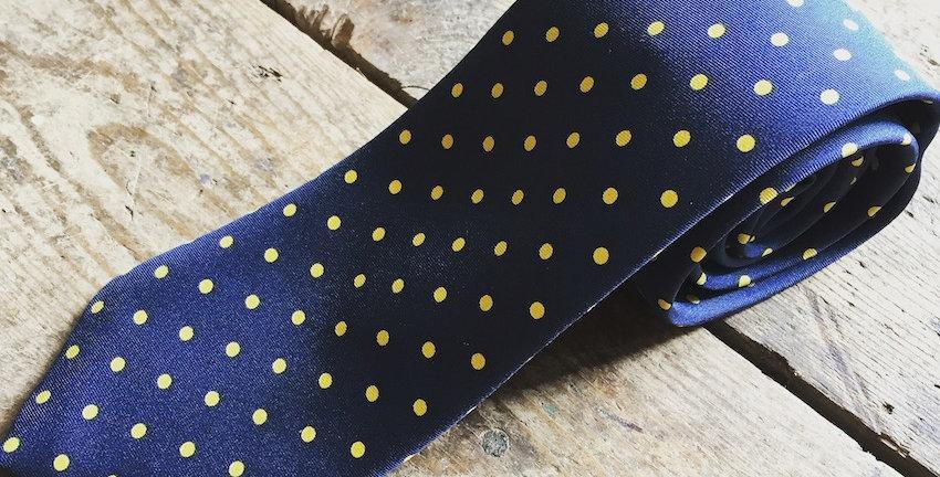 Navy & Yellow Red Spot Silk Tie