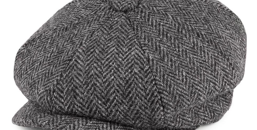 Grey Herringbone Harris Tweed 8 Piece Cap