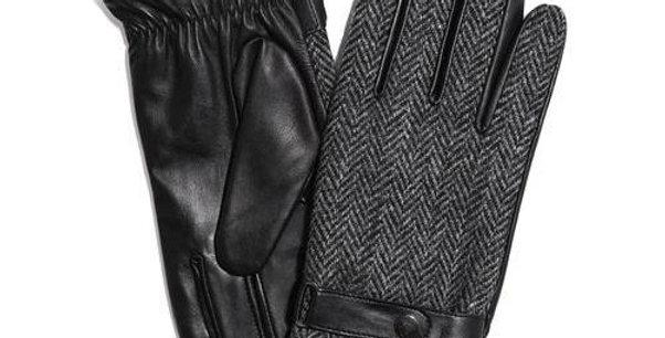 Grey Herringbone Harris Tweed &Leather Gloves