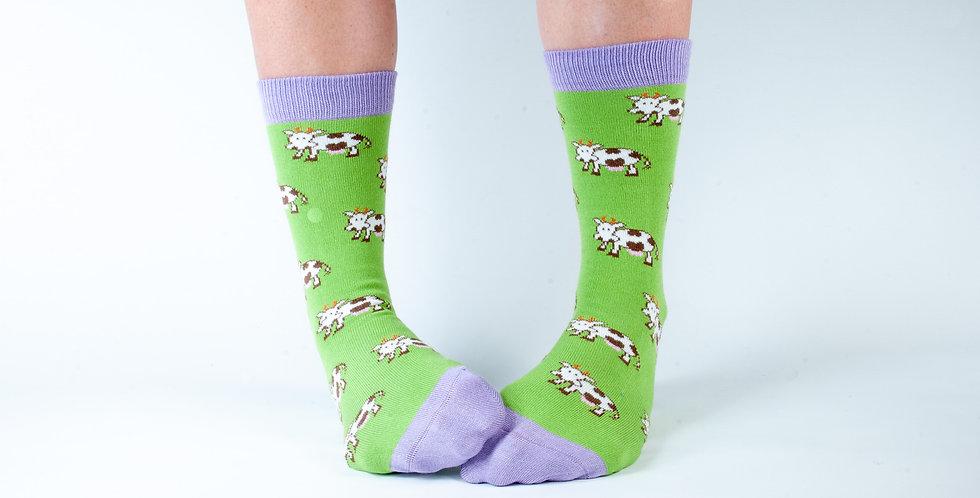 Size 3-7 Green Cow Bamboo Socks