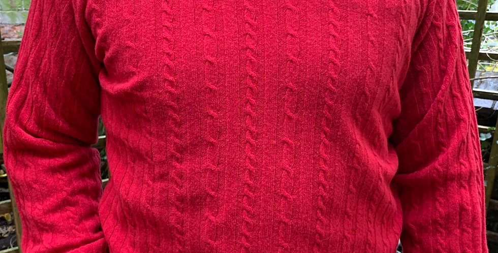 Poppy Red Cable Knit Crew Neck Jumper
