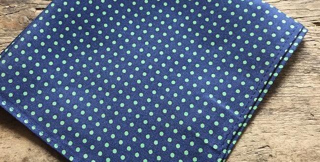 Navy & Green Small Spot Silk Pocket Square