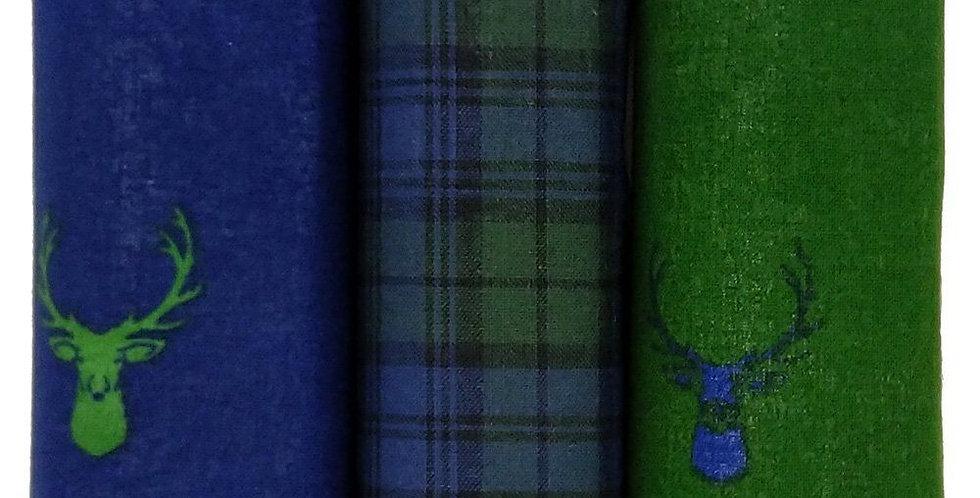 Set Of Three Tartan & Stag Hankies