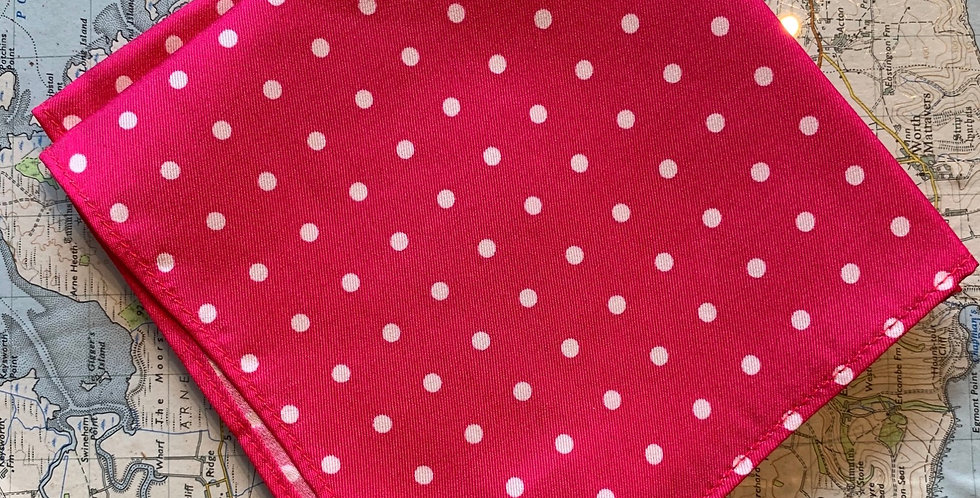 Bright Pink & White Spot Silk Pocket Square