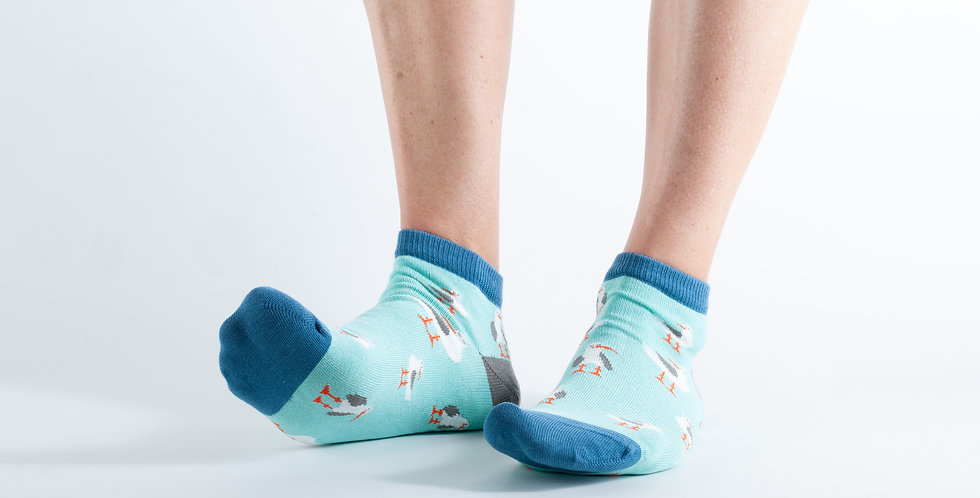 Size 3-7 Ankle Mint Seagull Bamboo Socks