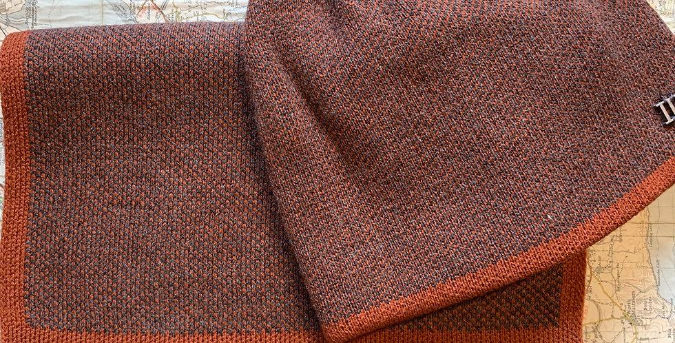 Set-Fine Knitted Burnt Orange Scarf & Beanie