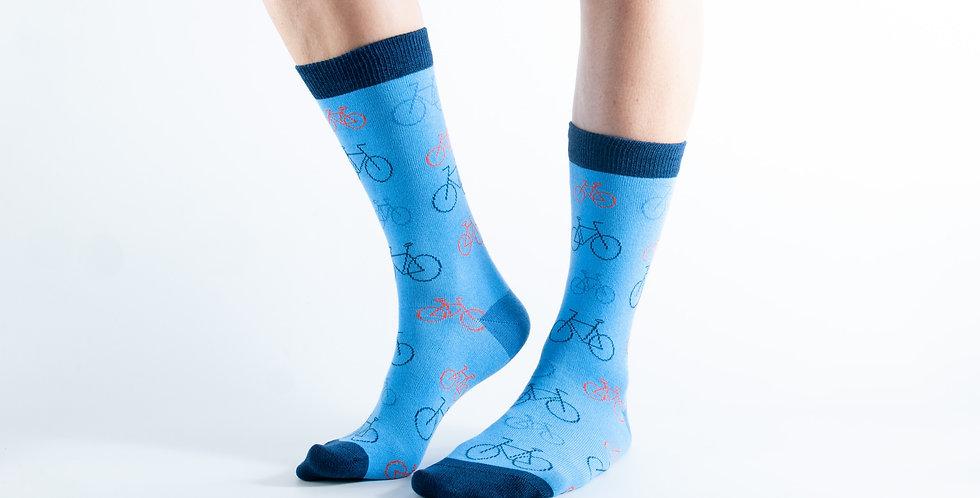 Size 3-7 Blue Bikes Bamboo Socks