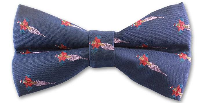 Navy 'Pheasant' Bow Tie