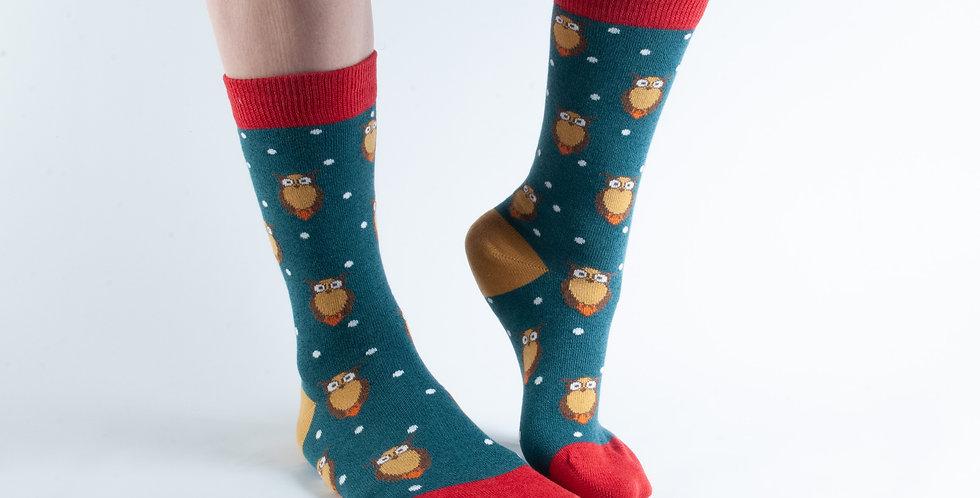 Size 3-7 Teal Owl Bamboo Socks