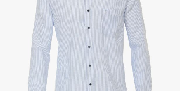 Blue Striped Linen Mix Long Sleeve Shirt