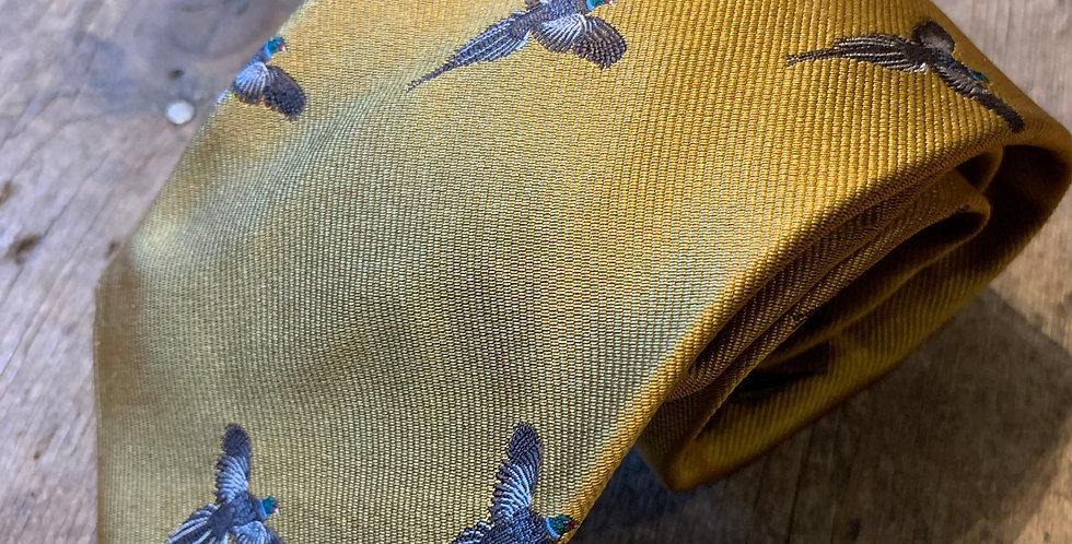 Mustard Pheasant Embroidered Tie